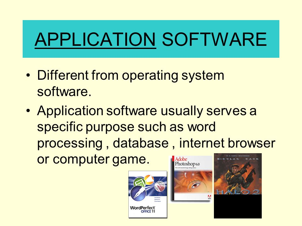 APPLICATION SOFTWARE Different from operating system software.