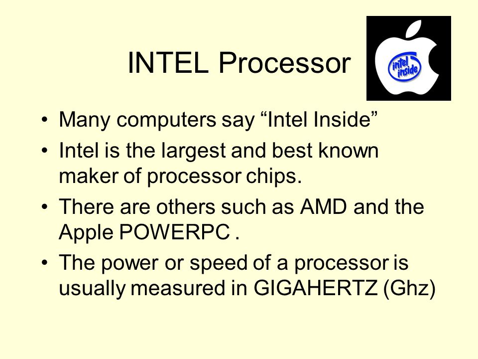 INTEL Processor Many computers say Intel Inside
