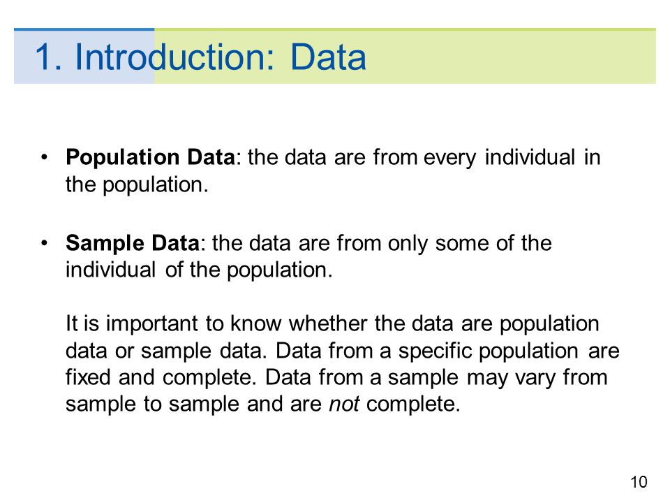 1. Introduction: Data Population Data: the data are from every individual in the population.