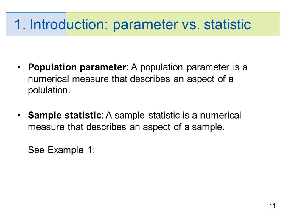 1. Introduction: parameter vs. statistic