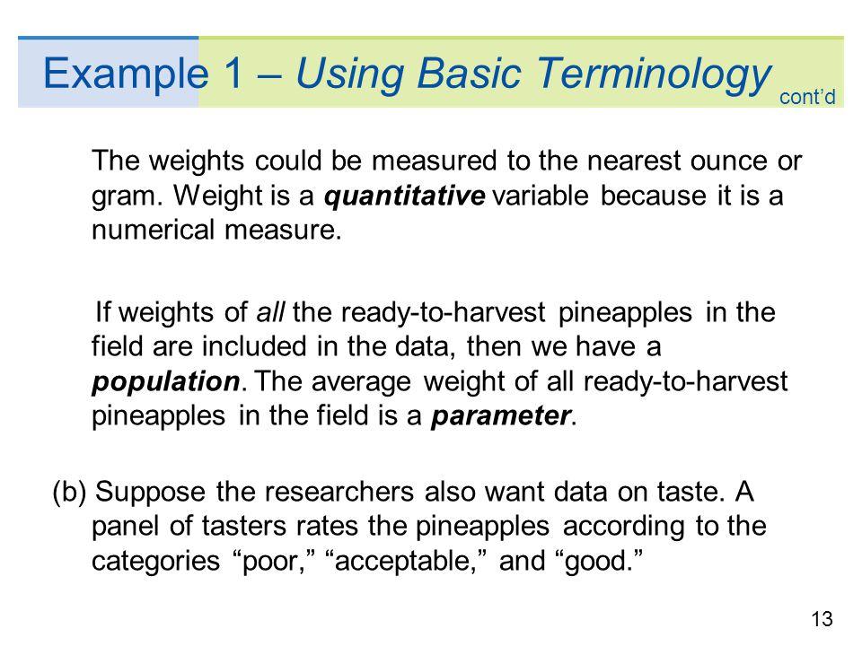Example 1 – Using Basic Terminology