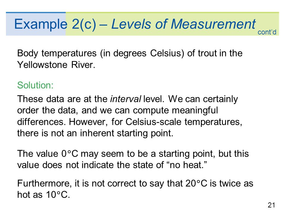 Example 2(c) – Levels of Measurement