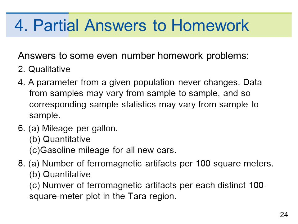 4. Partial Answers to Homework