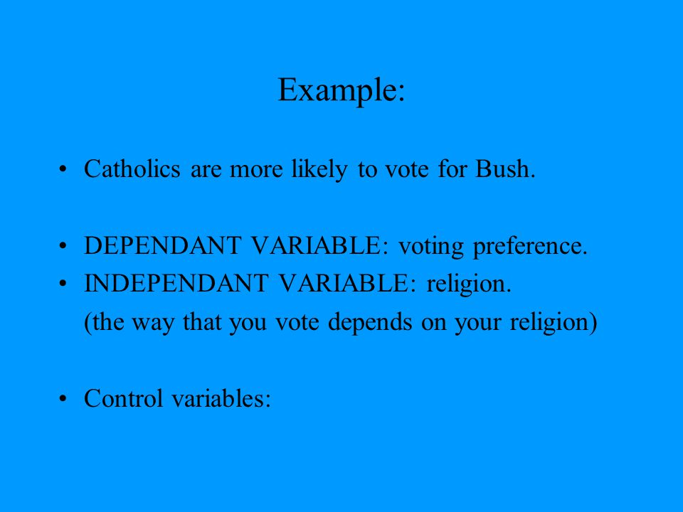 Example: Catholics are more likely to vote for Bush.