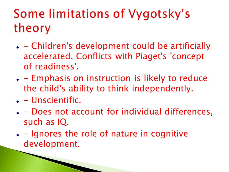 Some limitations of Vygotsky's theory