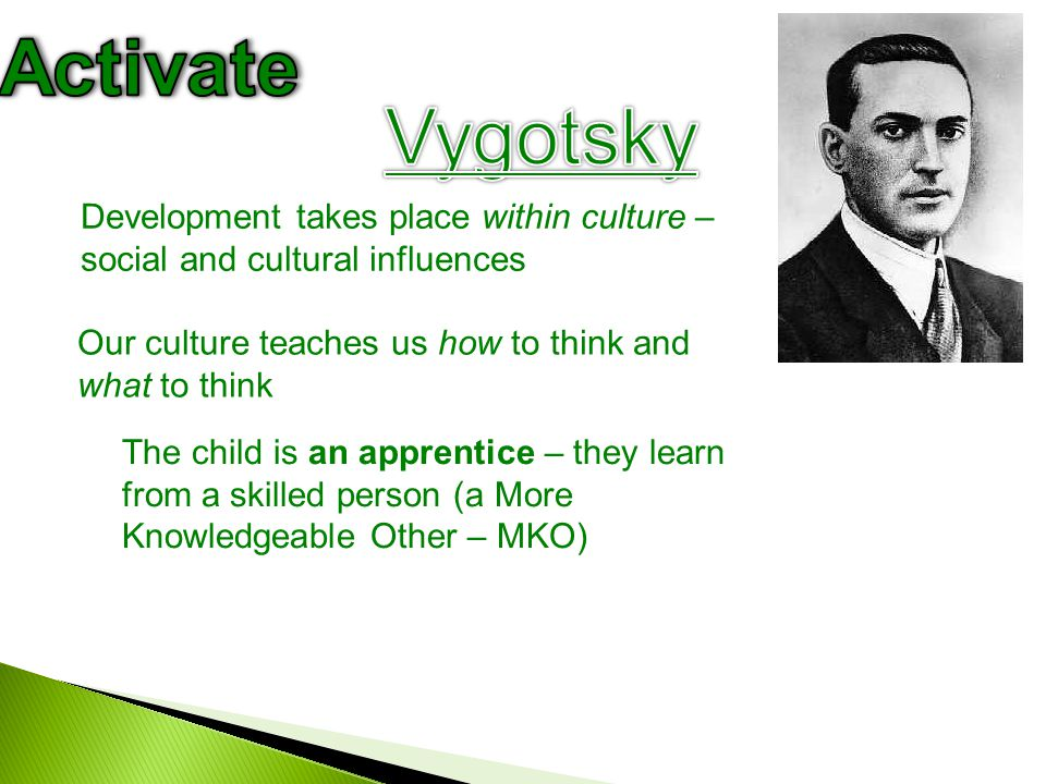 Activate Vygotsky. Development takes place within culture – social and cultural influences. Our culture teaches us how to think and what to think.