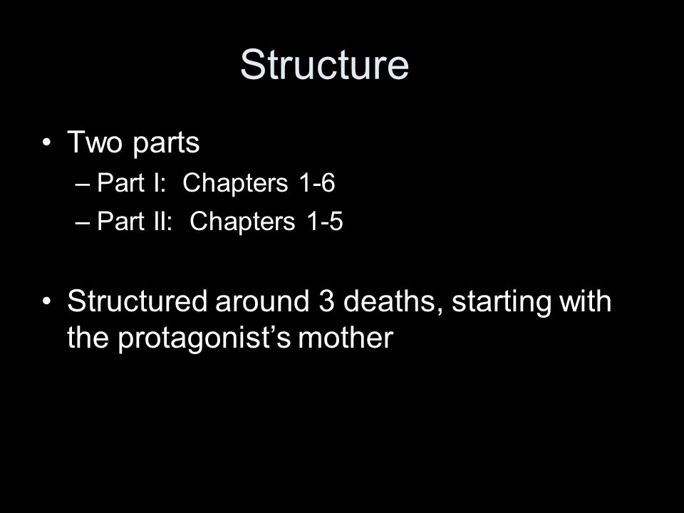Structure Two parts. Part I: Chapters 1-6. Part II: Chapters 1-5.