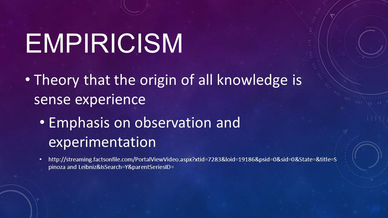 Empiricism Theory that the origin of all knowledge is sense experience