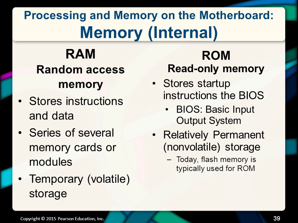 Processing and Memory on the Motherboard: Processing