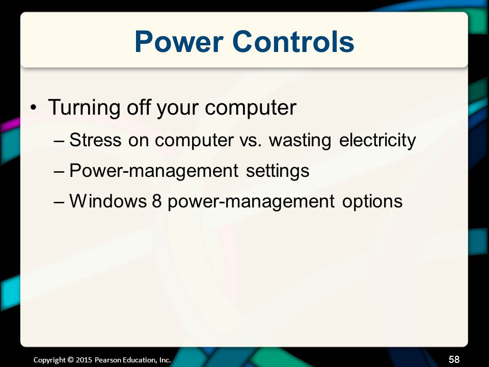 Power Controls Sleep Mode Hibernate Warm boot
