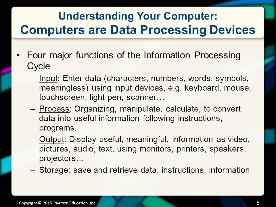 Understanding Your Computer: Computers are Data Processing Devices