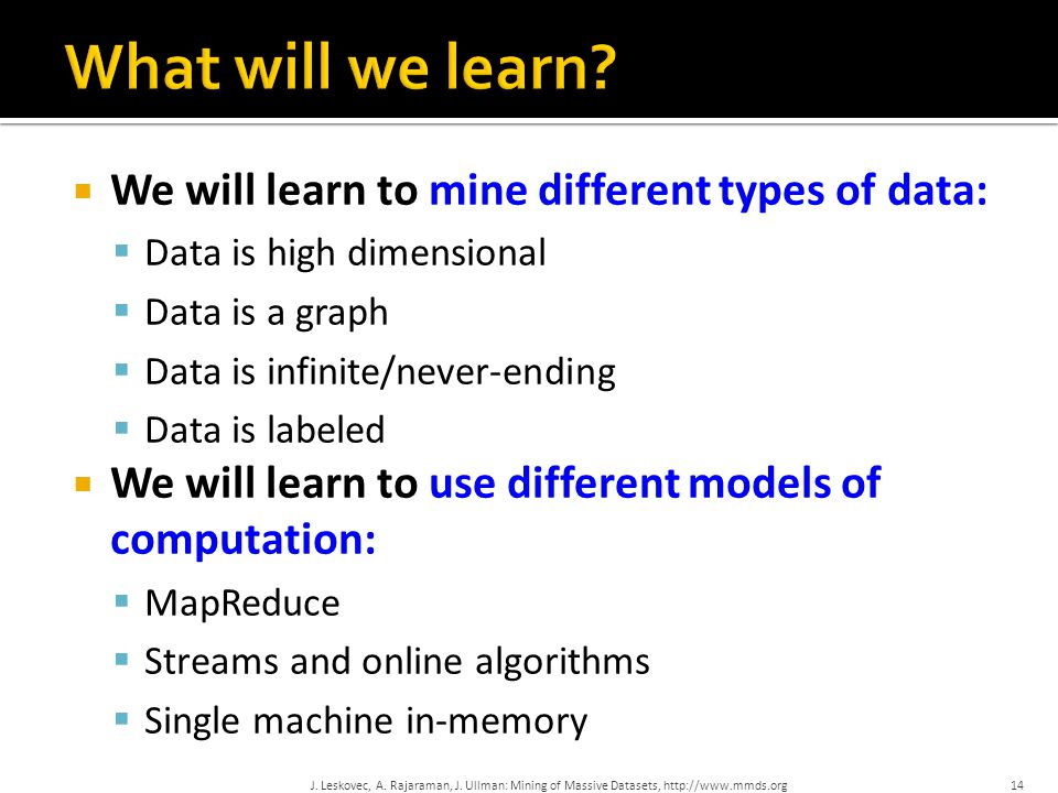 What will we learn We will learn to mine different types of data: