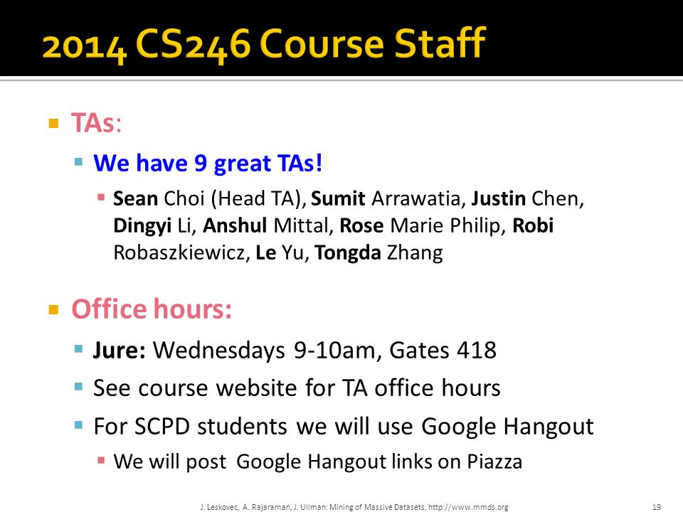 2014 CS246 Course Staff TAs: Office hours: We have 9 great TAs!