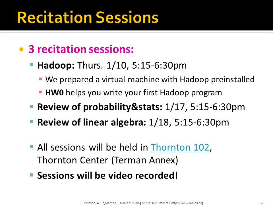 Recitation Sessions 3 recitation sessions: