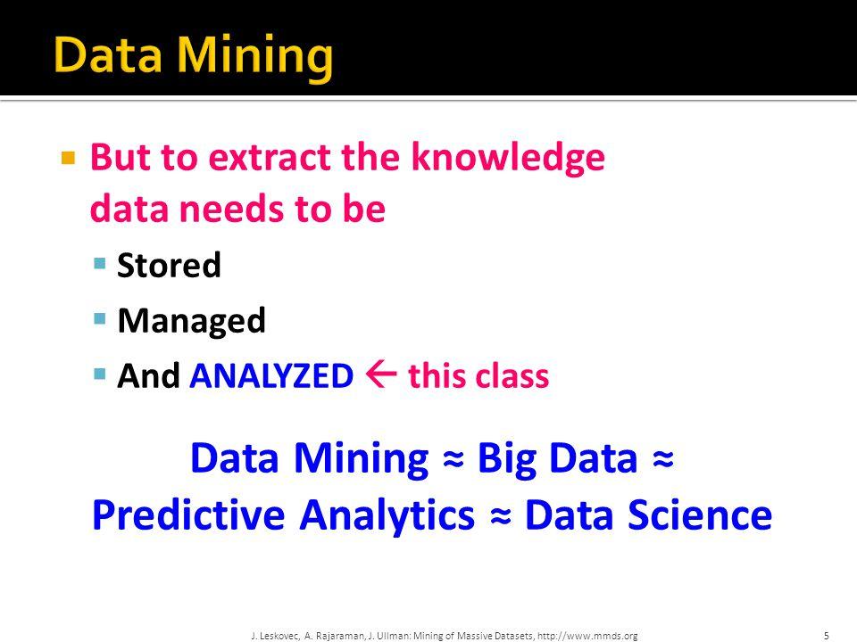 Data Mining ≈ Big Data ≈ Predictive Analytics ≈ Data Science