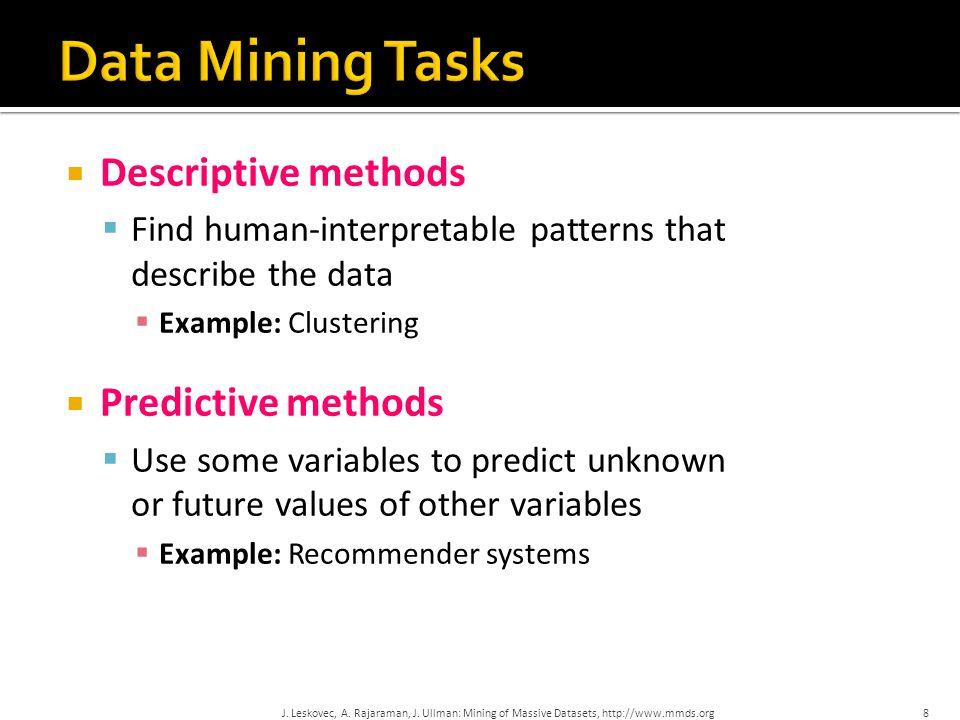 Data Mining Tasks Descriptive methods Predictive methods