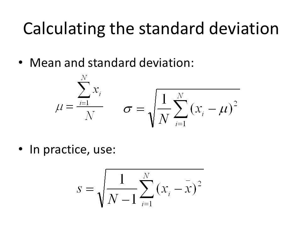Calculating the standard deviation