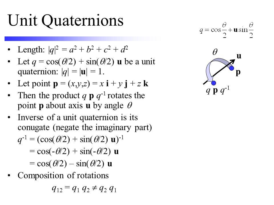 Unit Quaternions Length: |q|2 = a2 + b2 + c2 + d2 q