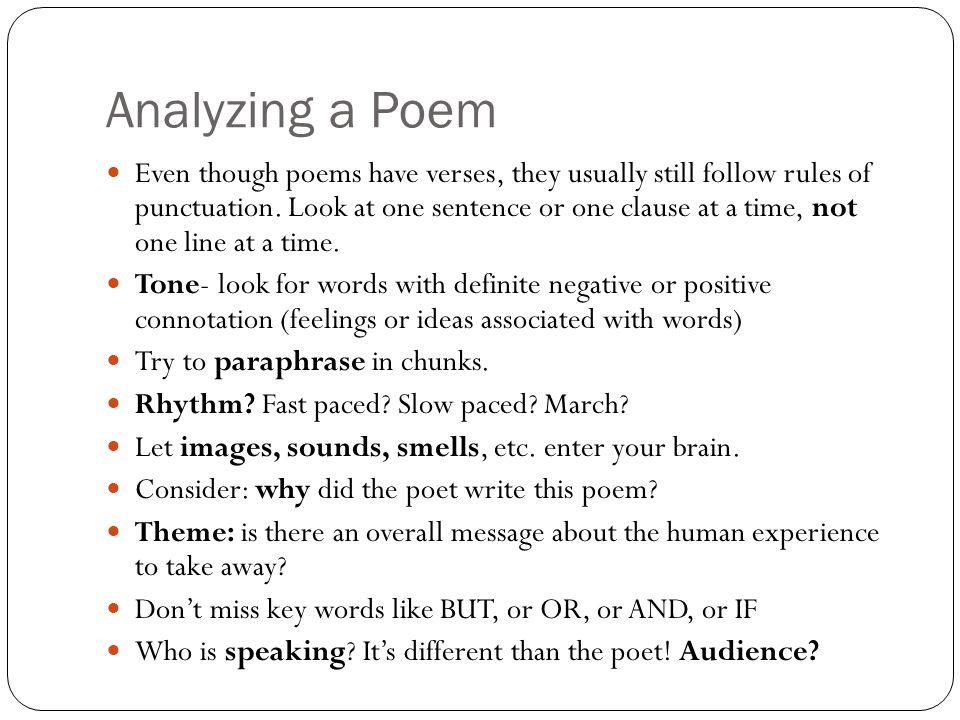 Analyzing a Poem