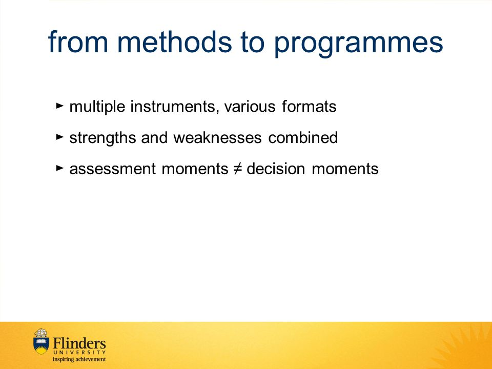 from methods to programmes