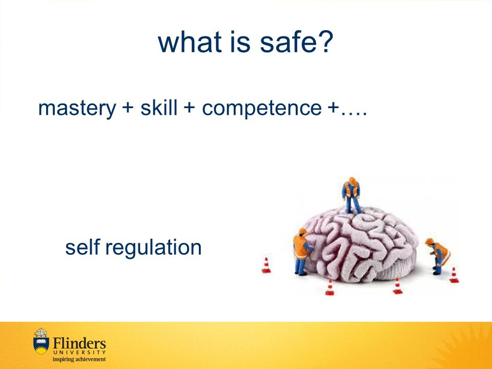 what is safe mastery + skill + competence +…. self regulation