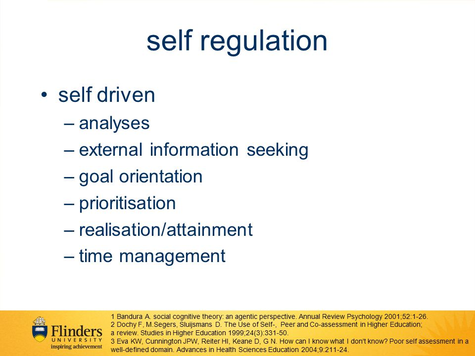 self regulation self driven analyses external information seeking