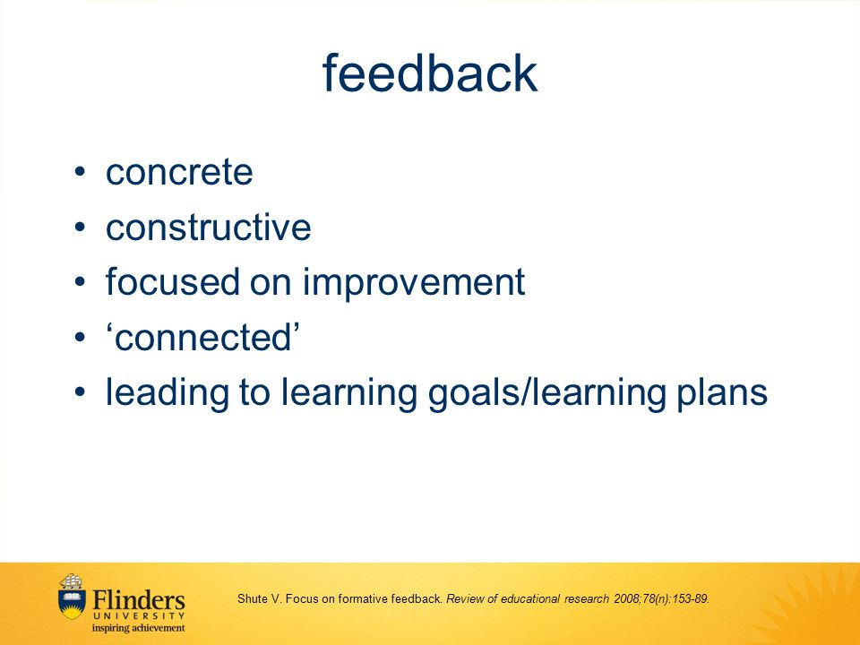 feedback concrete constructive focused on improvement 'connected'