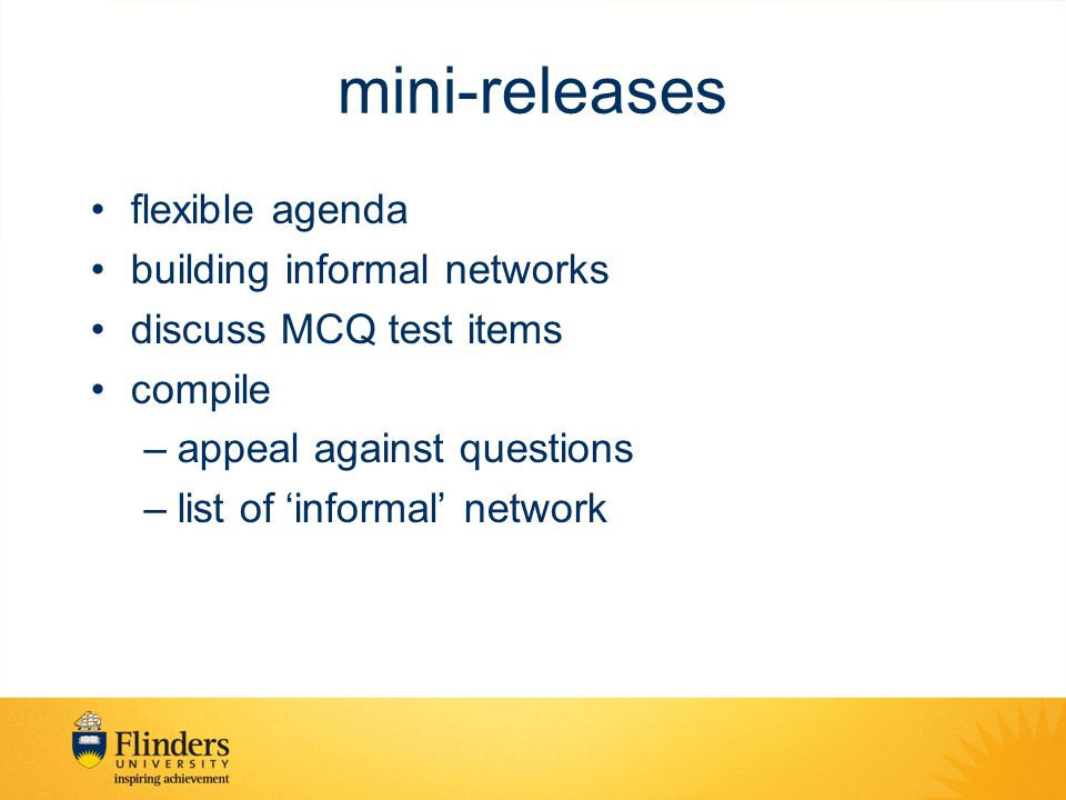 mini-releases flexible agenda building informal networks