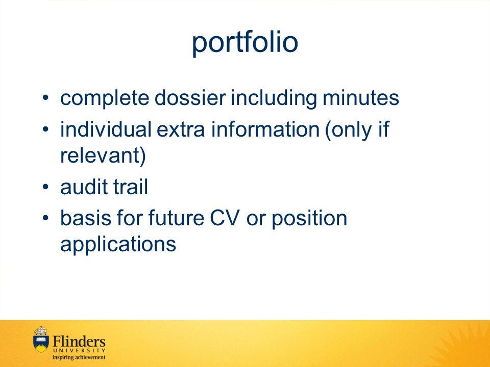 portfolio complete dossier including minutes