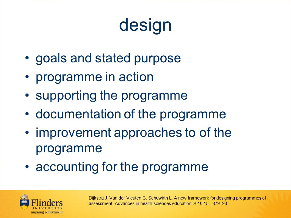 design goals and stated purpose programme in action
