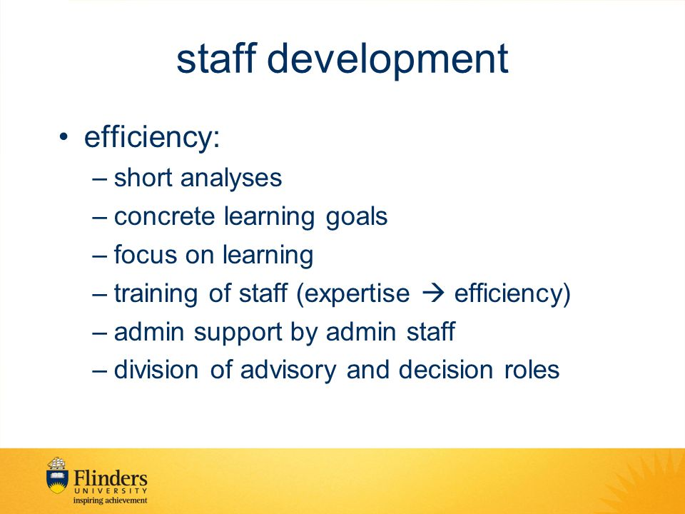 staff development efficiency: short analyses concrete learning goals