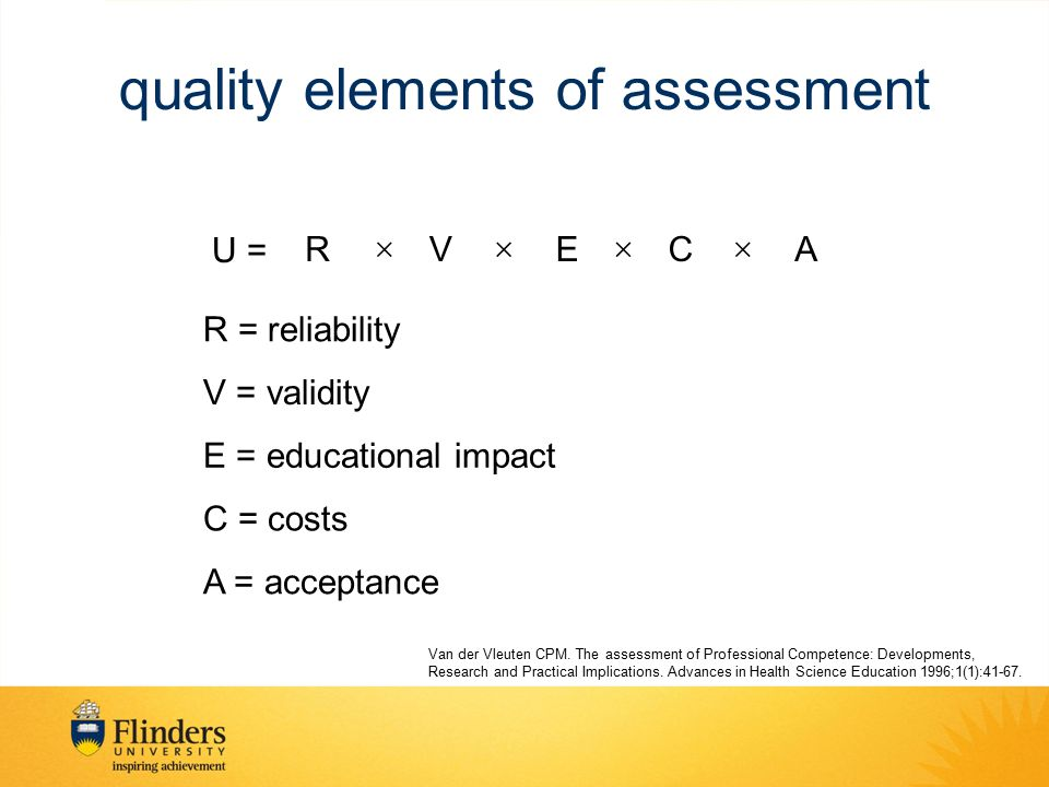 quality elements of assessment