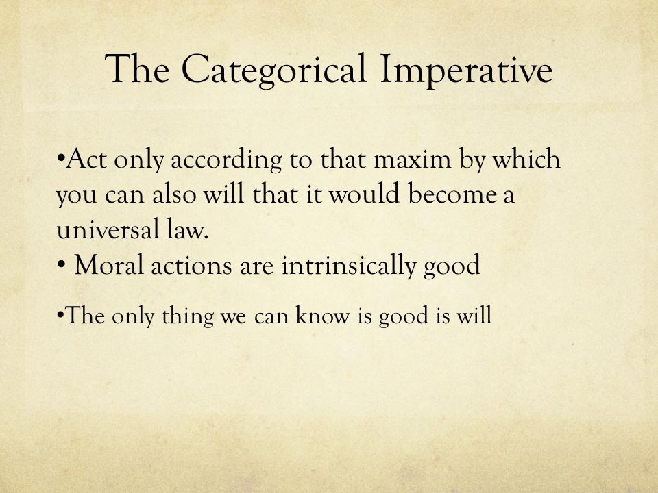 The Categorical Imperative