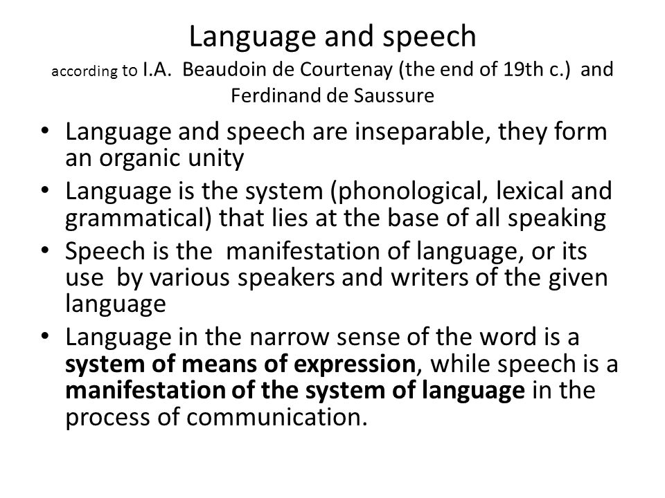 Language and speech according to I. A