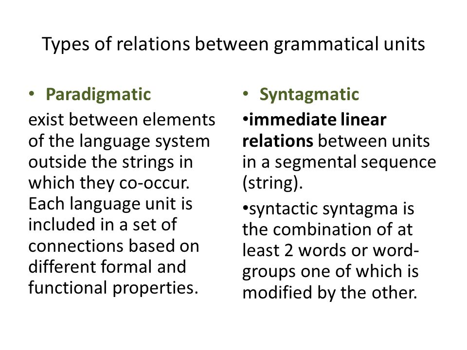Types of relations between grammatical units