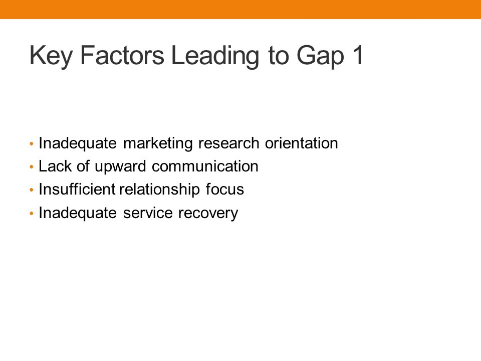 Key Factors Leading to Gap 1