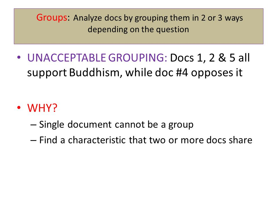 Groups: Analyze docs by grouping them in 2 or 3 ways depending on the question