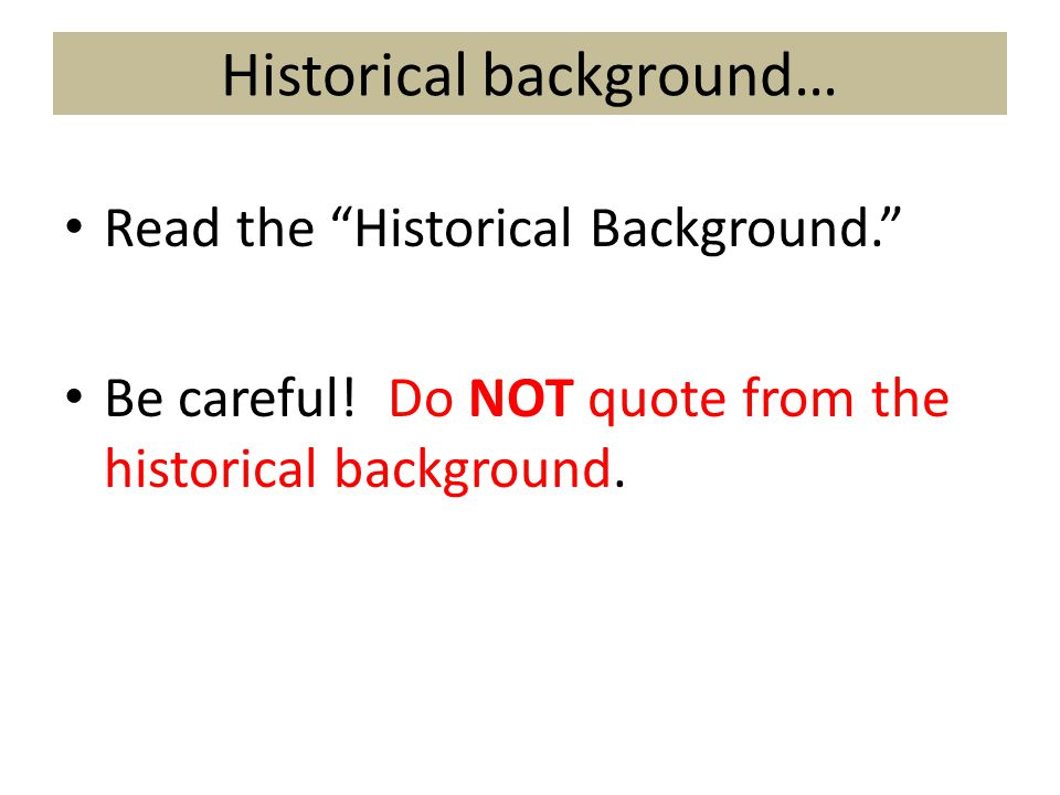 Historical background…