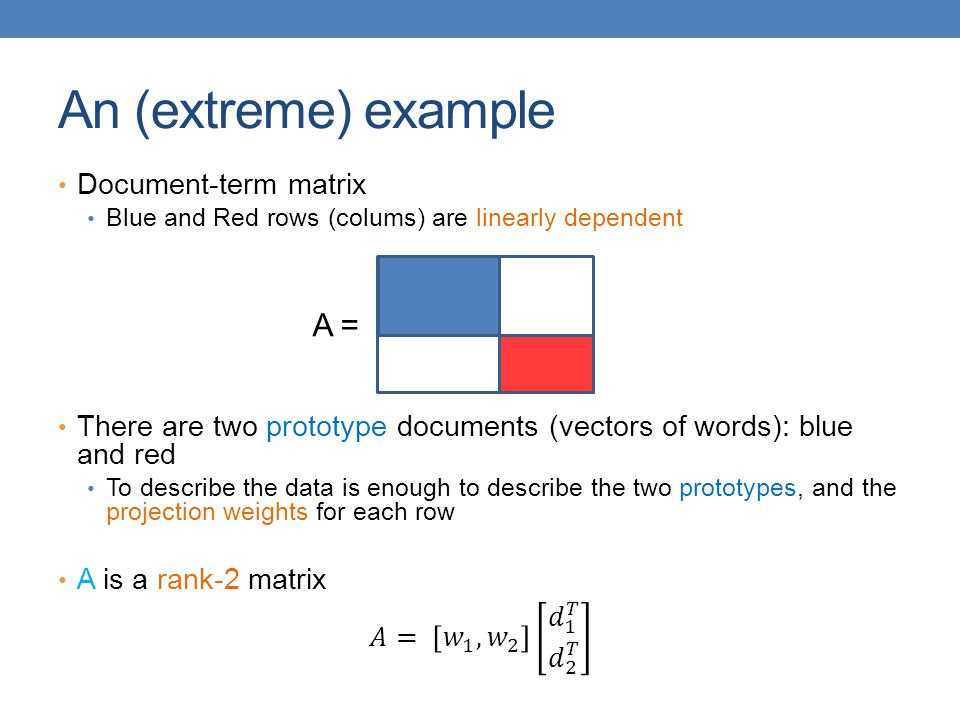 An (extreme) example A = Document-term matrix