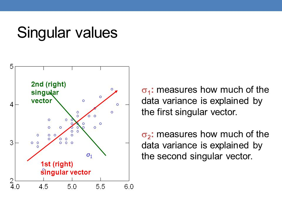 Singular values 2nd (right) singular vector. 1: measures how much of the data variance is explained by the first singular vector.