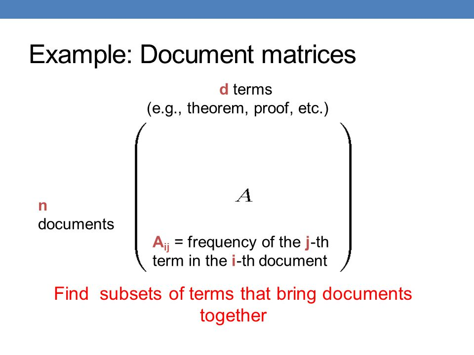 Example: Document matrices
