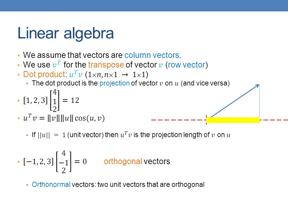 Linear algebra We assume that vectors are column vectors.