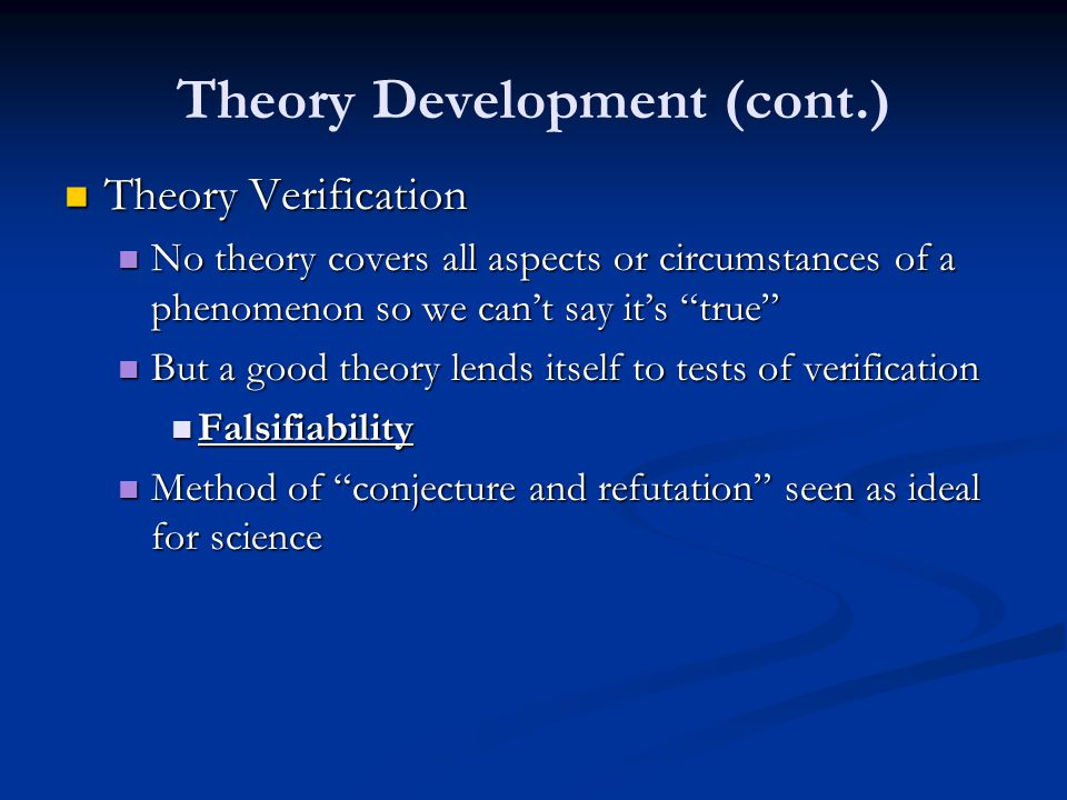 Theory Development (cont.)