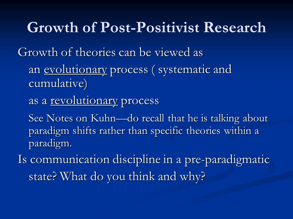 positivist paradigm in research Research on positivism and post positivism print research paradigm refers to a set of beliefs and feelings about the world 41 i positivism and post positivism.