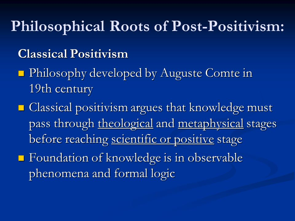 Philosophical Roots of Post-Positivism:
