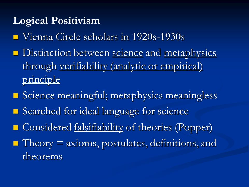 Logical Positivism Vienna Circle scholars in 1920s-1930s.