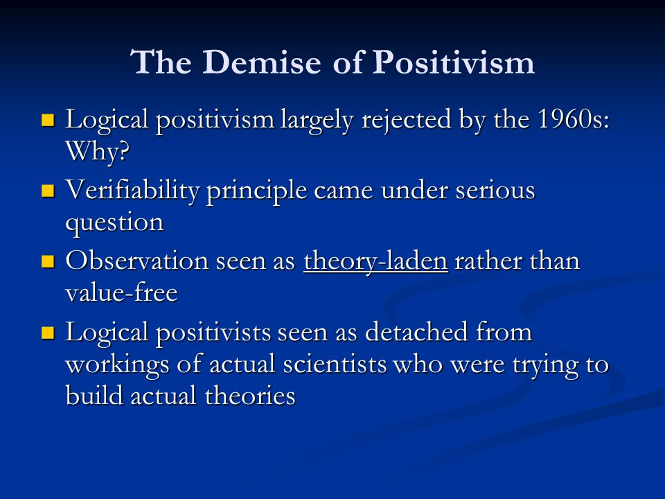 The Demise of Positivism