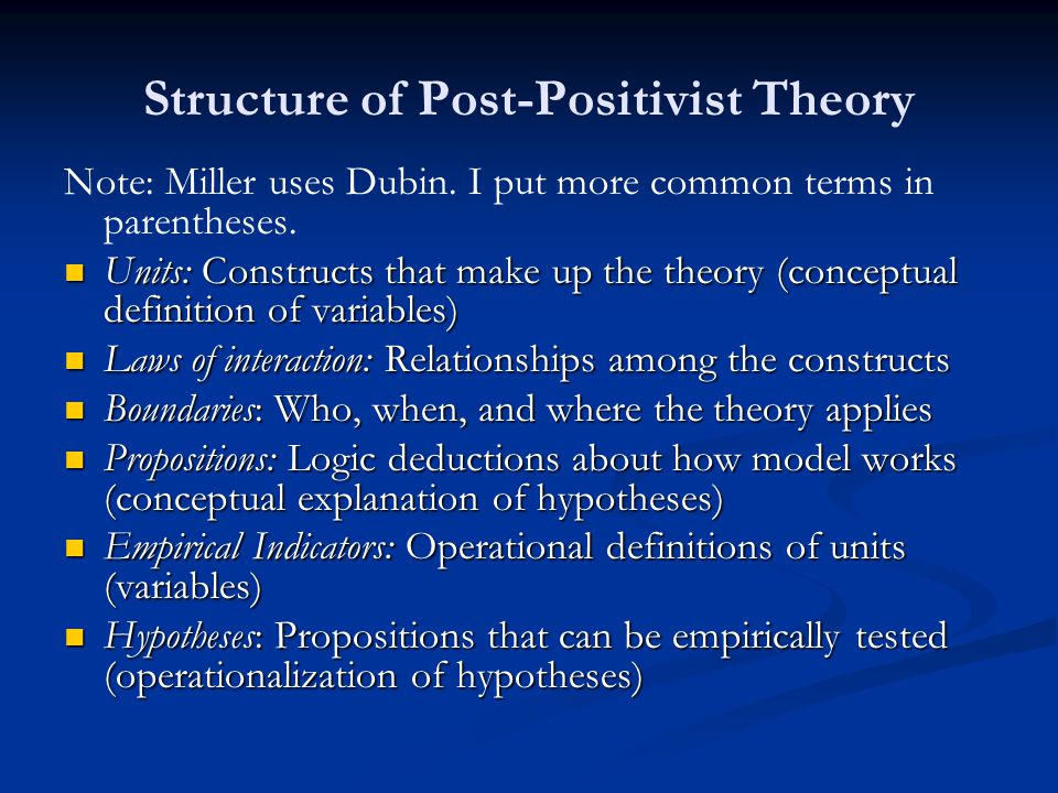 Structure of Post-Positivist Theory