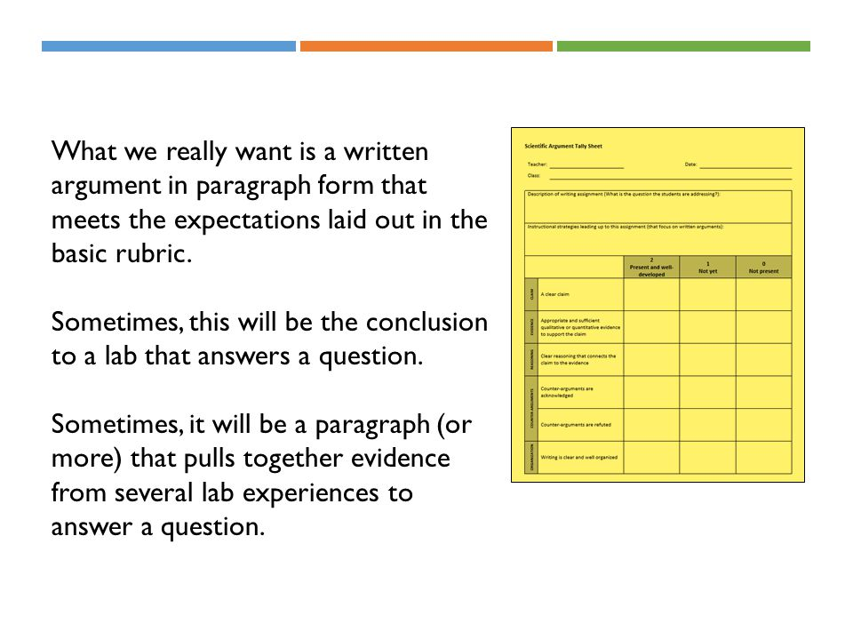 What we really want is a written argument in paragraph form that meets the expectations laid out in the basic rubric.