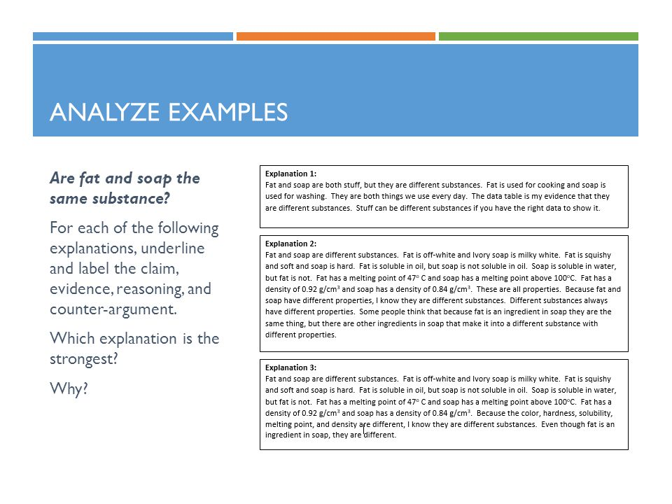 Analyze Examples Are fat and soap the same substance